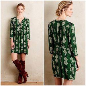 Meave Devery Green Bird Print Shirtdress Medium